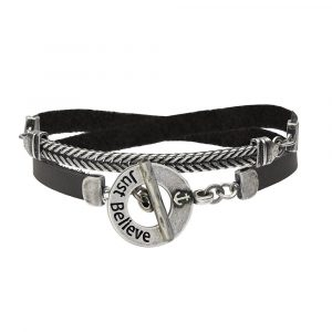 The new JUST BELIEVE black leather bracelet