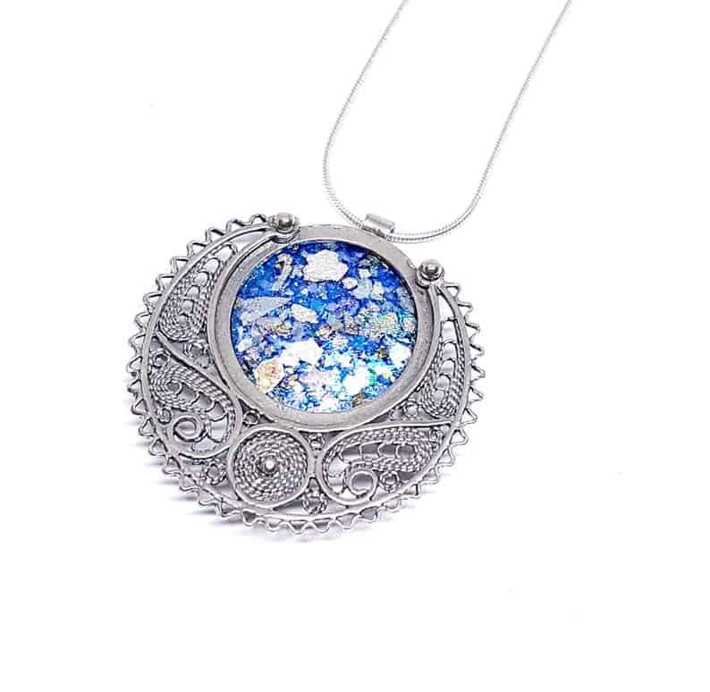 925 Silver Ancient Filigree Roman Glass Pendant