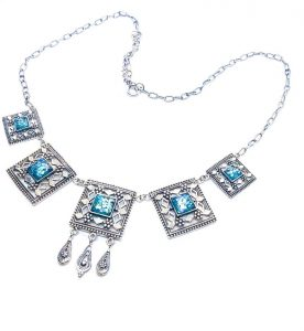 925 Silver Yemenite Roman Glass Necklace