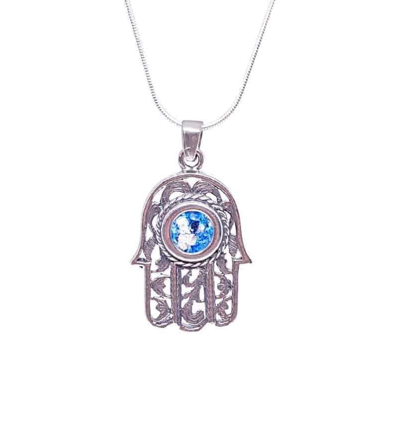 925 Sterling Silver Roman Glass Hamsa Pendant Israel