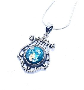 925 Sterling Silver Roman Glass King David Harp Pendant