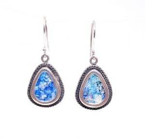 925 Sterling Silver Roman Glass filigree Earrings