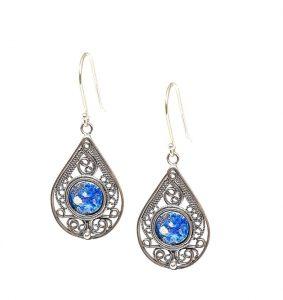 925 Sterling Silver Yemenite Filigree Work Roman Glass Tear Drop Earrings ,Silver Earrings
