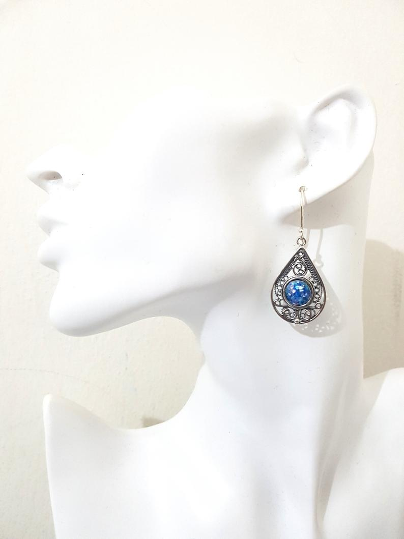 925 Sterling Silver Yemenite Filigree Work Roman Glass Tear Drop Earrings ,Silver Earrings