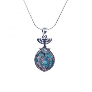 925 Silver Roman Glass Jerusalem Menorah Pendant Necklace Messianic Jerusalem