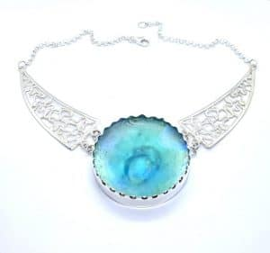 Hand Made 925 Silver Ancient Bluish Roman Glass Necklace