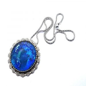 Amazing Colorful Roman Glass Hand Made One of a Kind Necklace 925 Sterling Silver Pendant Necklace
