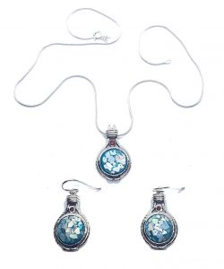 Beautiful 925 Sterling Silver Roman Glass Set