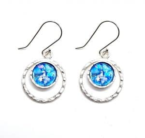 Hammered Roman Glass 925 Sterling Silver Earrings