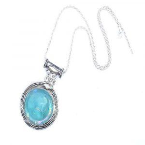 925 Silver Rare Bluish Roman Glass Necklace