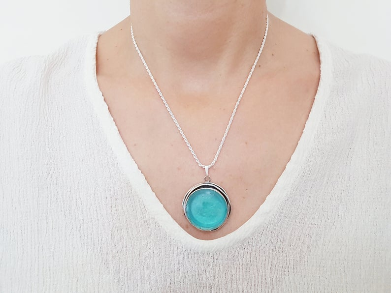 One Of A Kind Hand Made 925 Silver Roman Glass Bluish Pendant Necklace Unique Work
