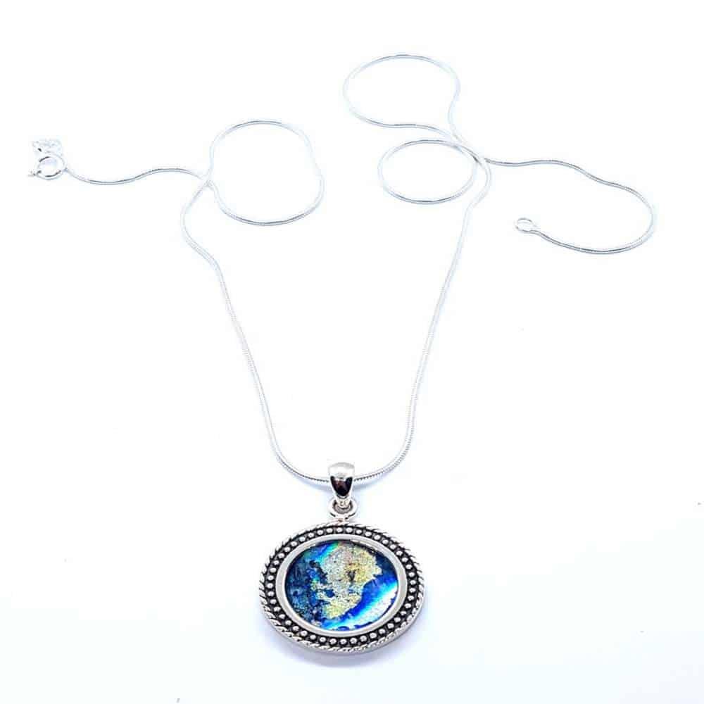925 Silver Roman Glass Pendant
