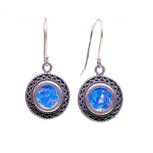 Round Decorated 925 Sterling Silver Star of David Roman Glass Earrings