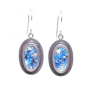 925 Sterling Silver Roman Glass filigree Earrings