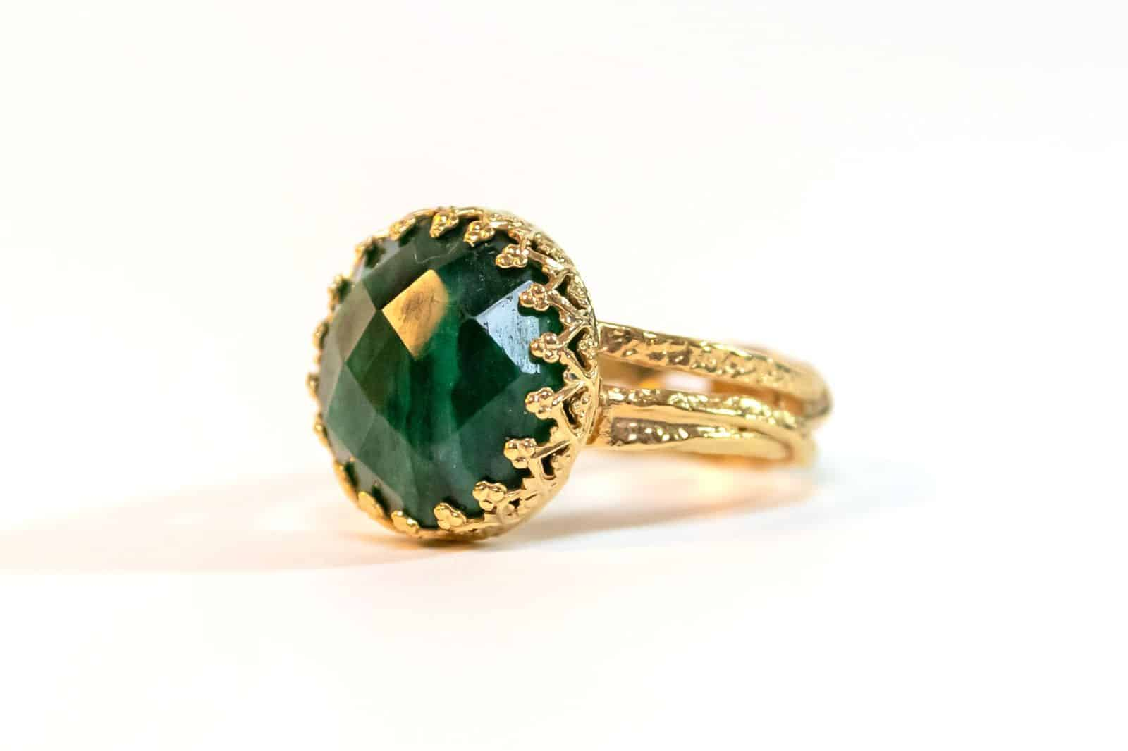 Green Emerald Goldfield Ring -  Heart Chakra Stone