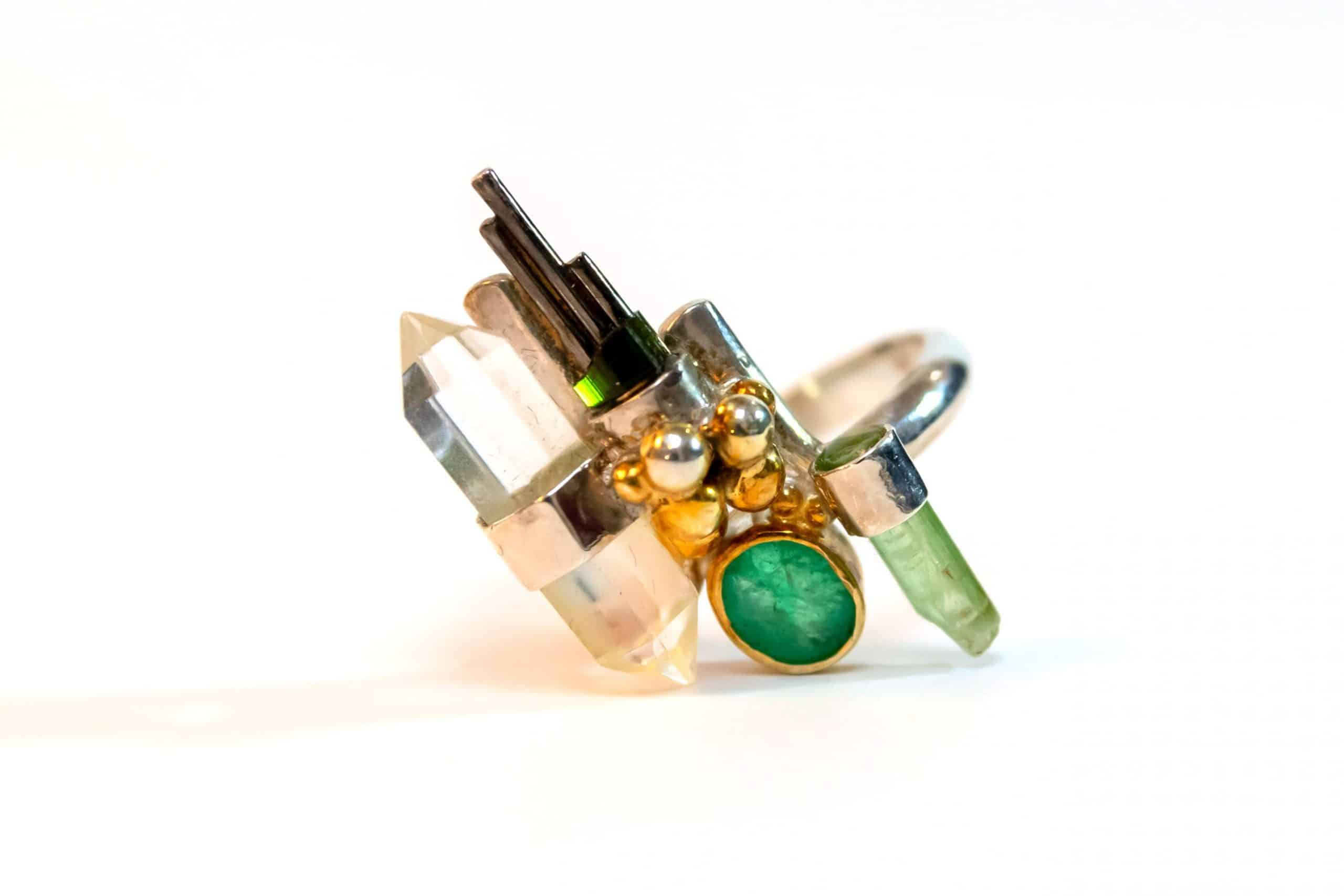 Quartz and Emerald Ring