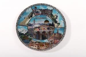 Colorful Holy Land Plate - Jerusalem Sites