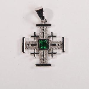 Jerusalem cross necklace with jade stone