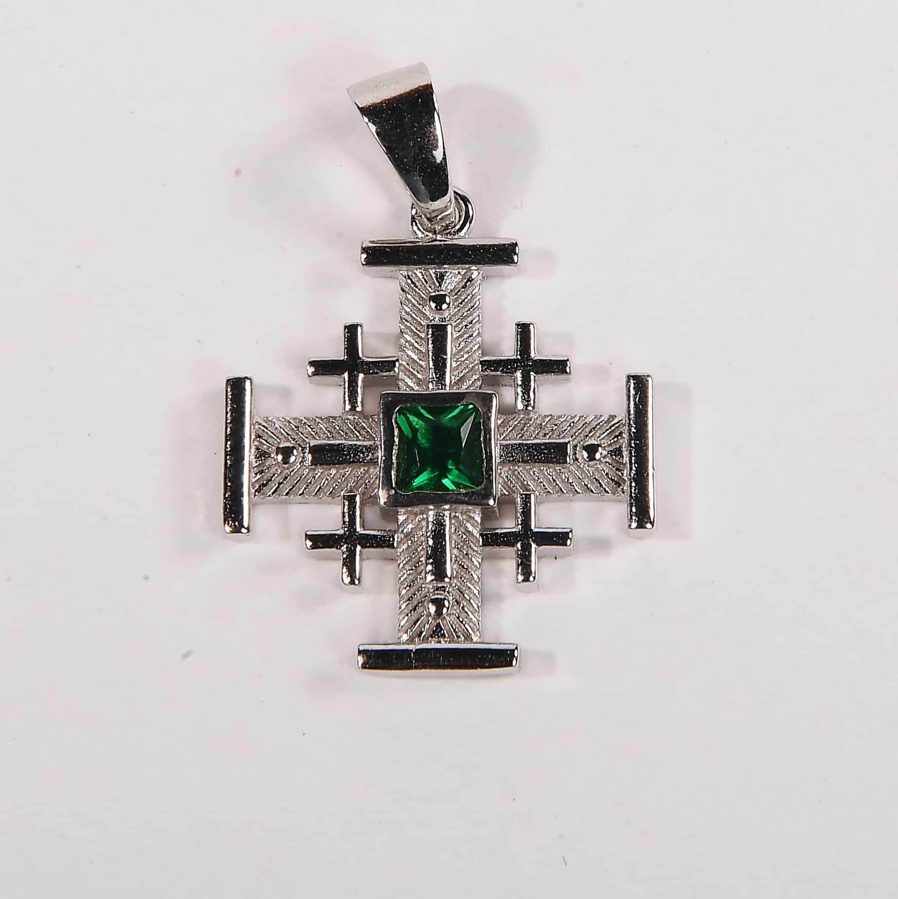 Jerusalem cross necklace with jade stone
