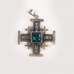 Jerusalem cross necklace with eilat stone 1.5 inch / 3cm
