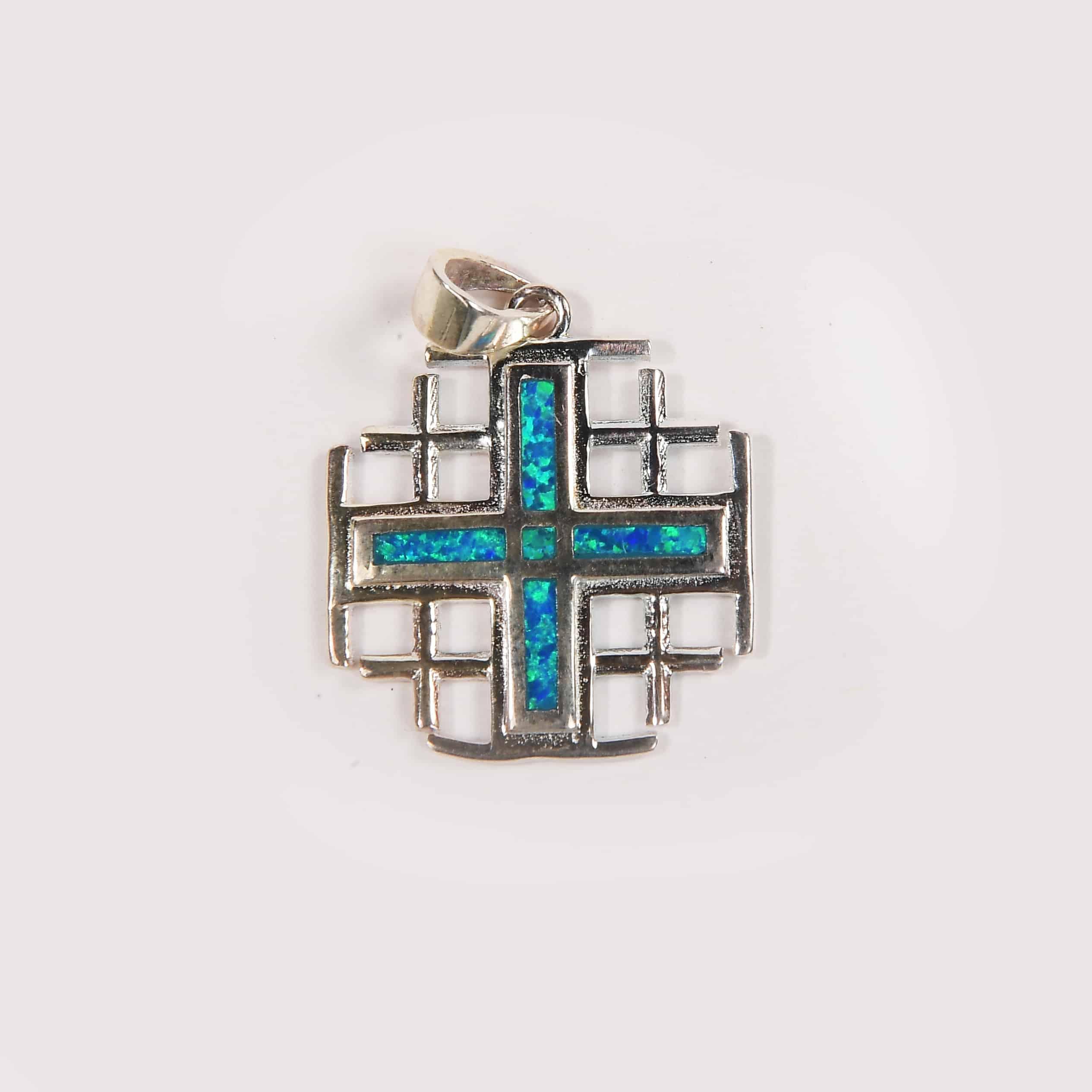 Jerusalem blue opal cross