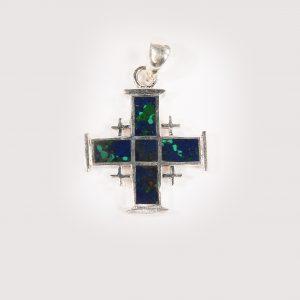 Jerusalem cross necklace with eilat stone 2cm
