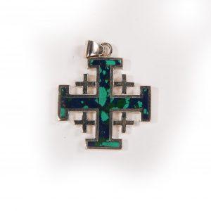 Jerusalem cross necklace with eilat stone L 2.5cm
