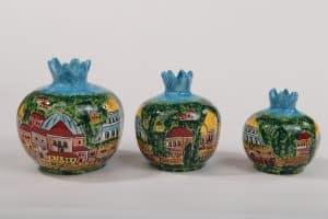 Ceramic Pomegranate Jerusalem Hand Painted