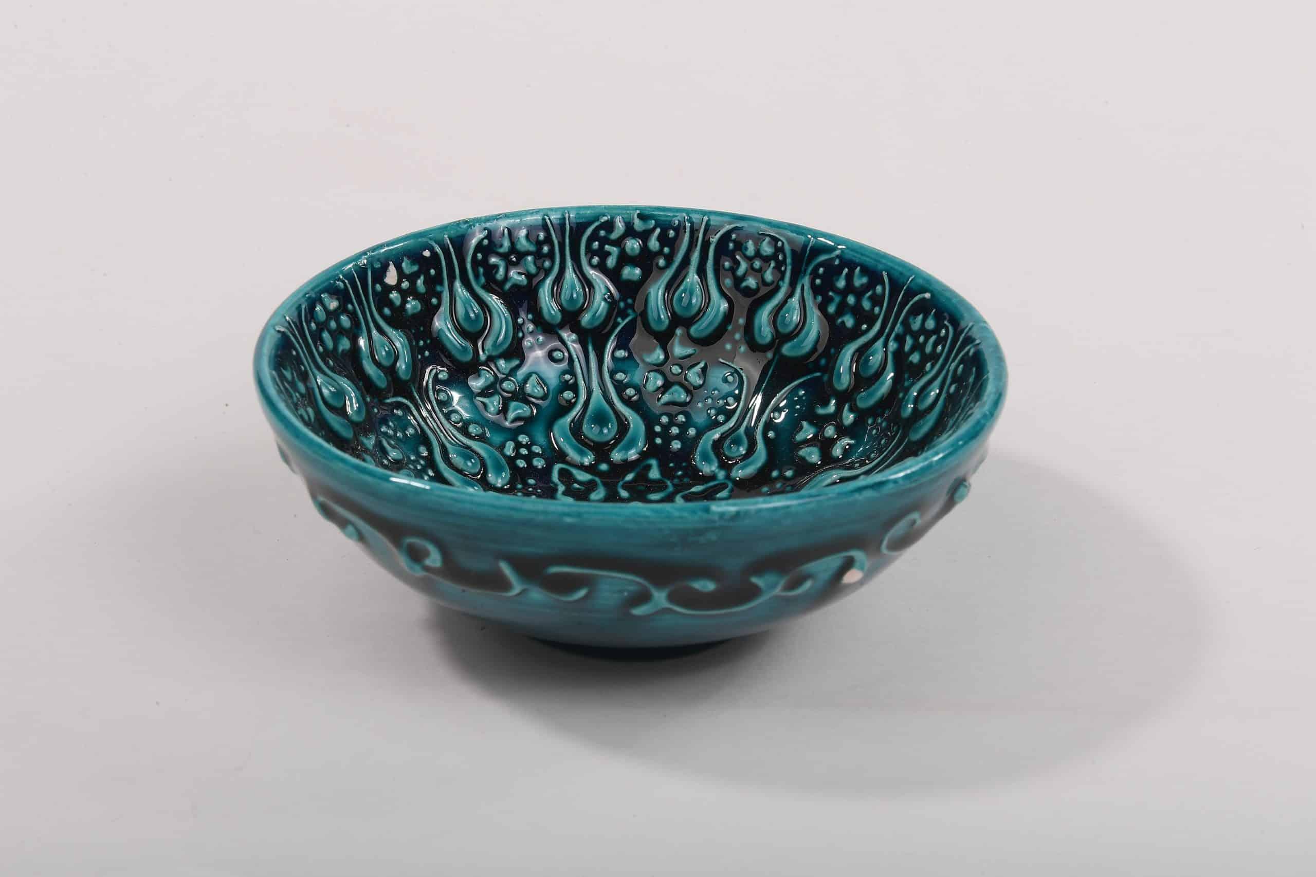Turquoise Ceramic bowl handmade 10 cm