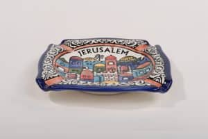 Armenian Ceramic Ashtray - Jerusalem Panorama Hand Painted