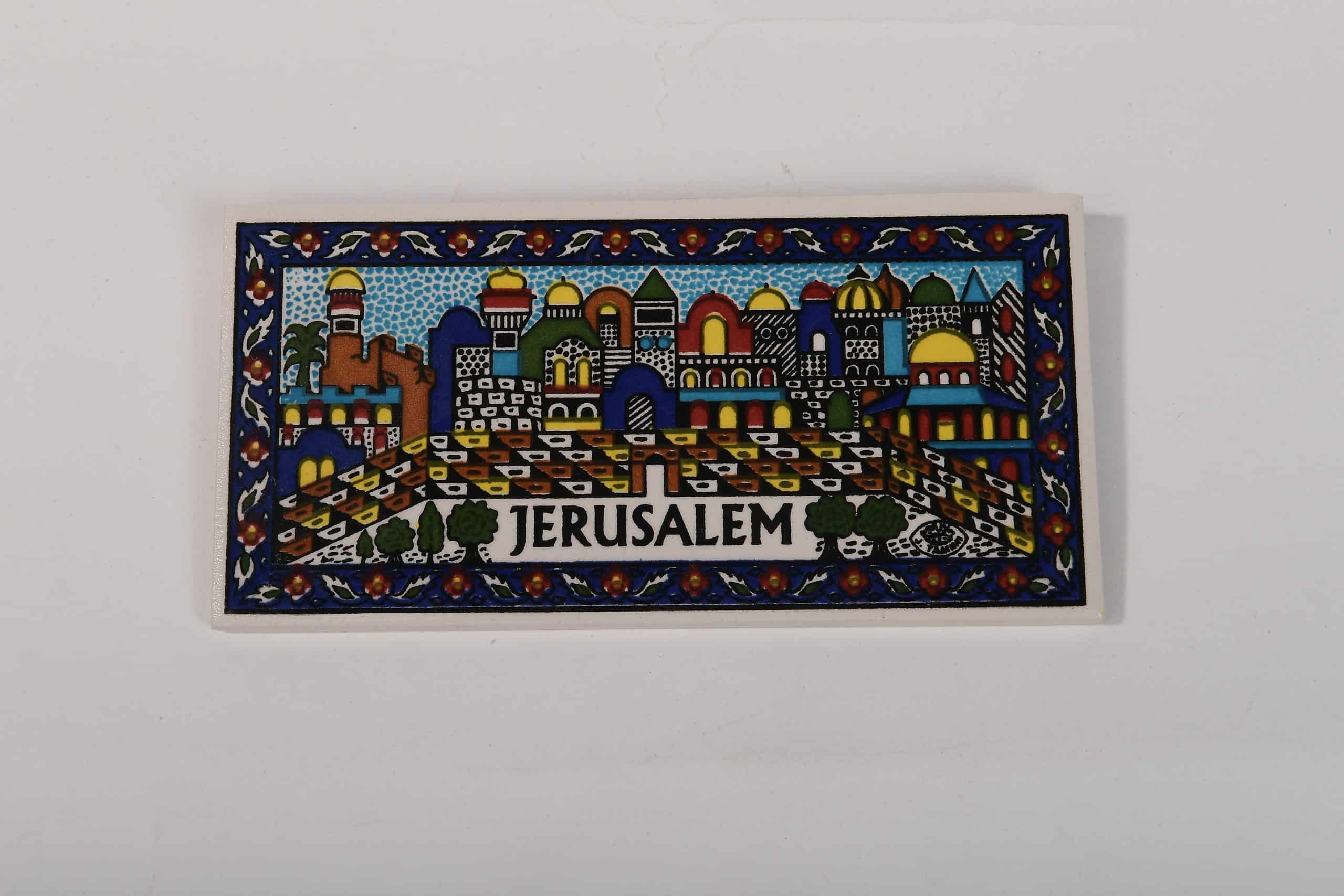 Armenian Ceramic Hanging Tile with Jerusalem Wall and the Hand-Painted Panorama