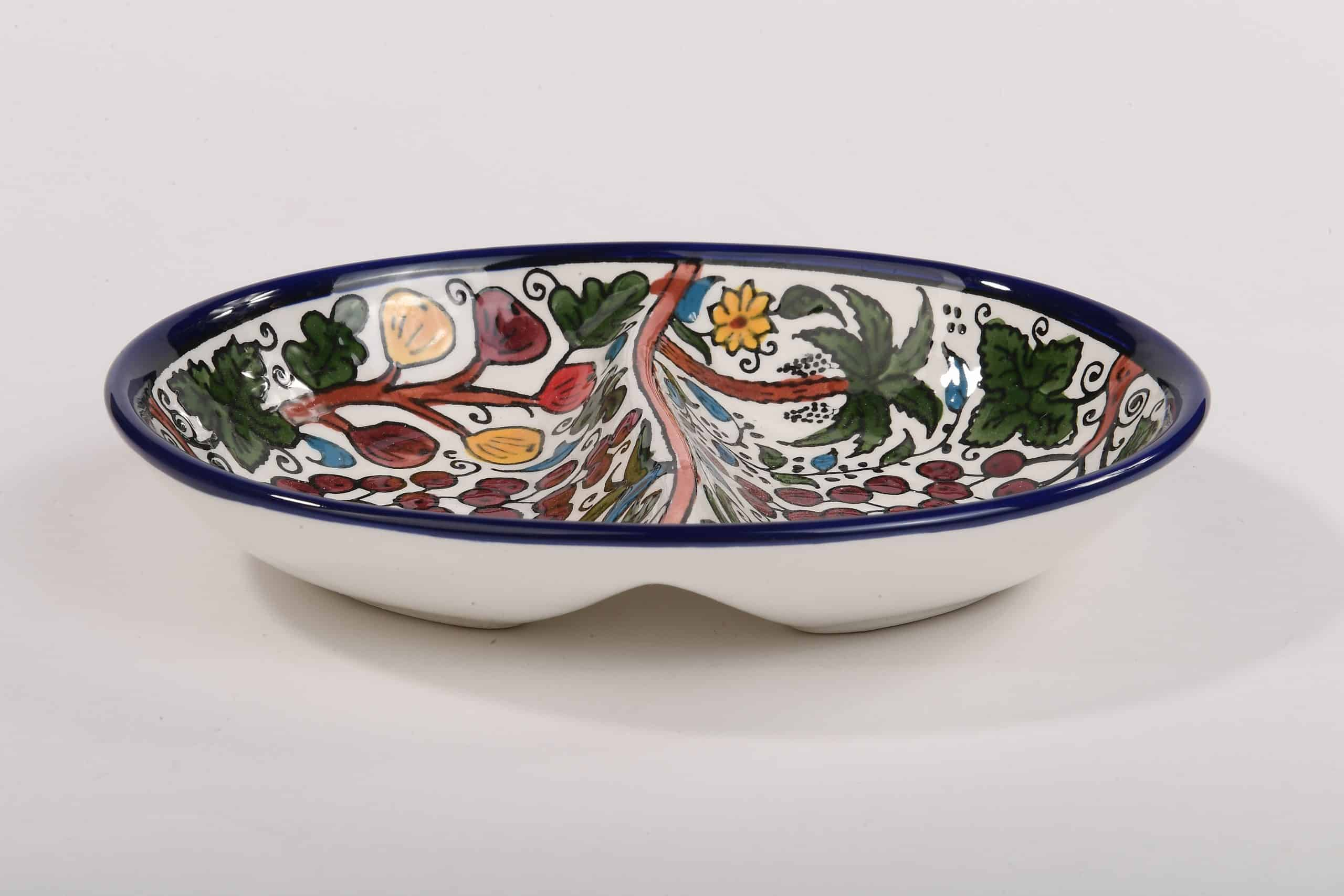 Armenian Pomegranate Ceramic Bowl with Seven Species Design. Armenian Ceramic Hand painted