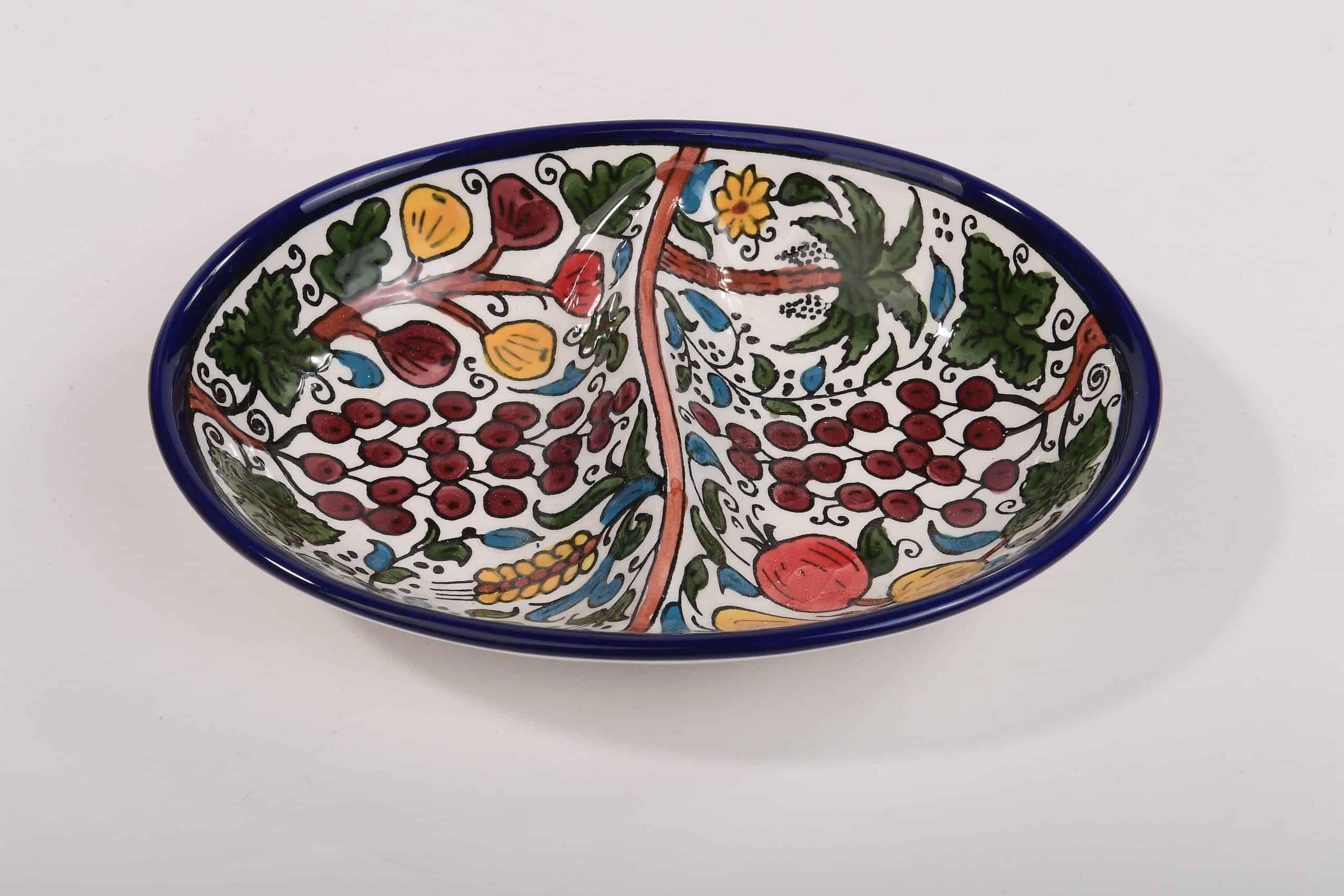 Armenian Pomegranate Ceramic Bowl with Seven Species Design. Armenian Ceramic Hand painted