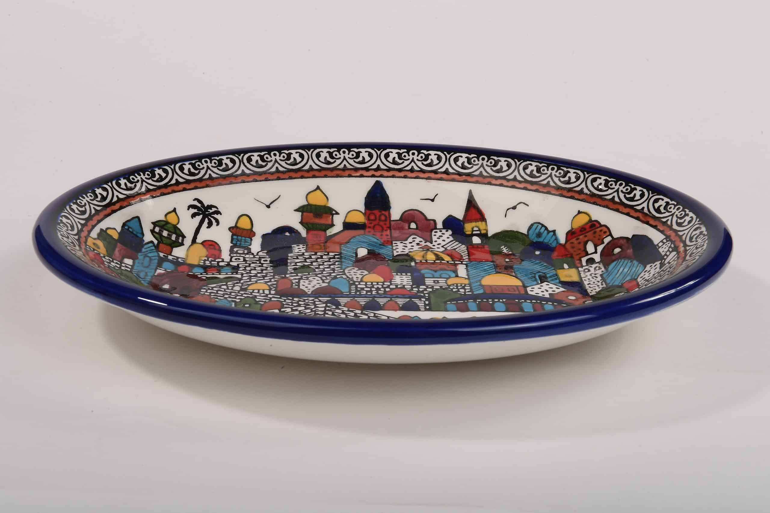 Armenian ceramic jerusalem bowl hand painted (L)