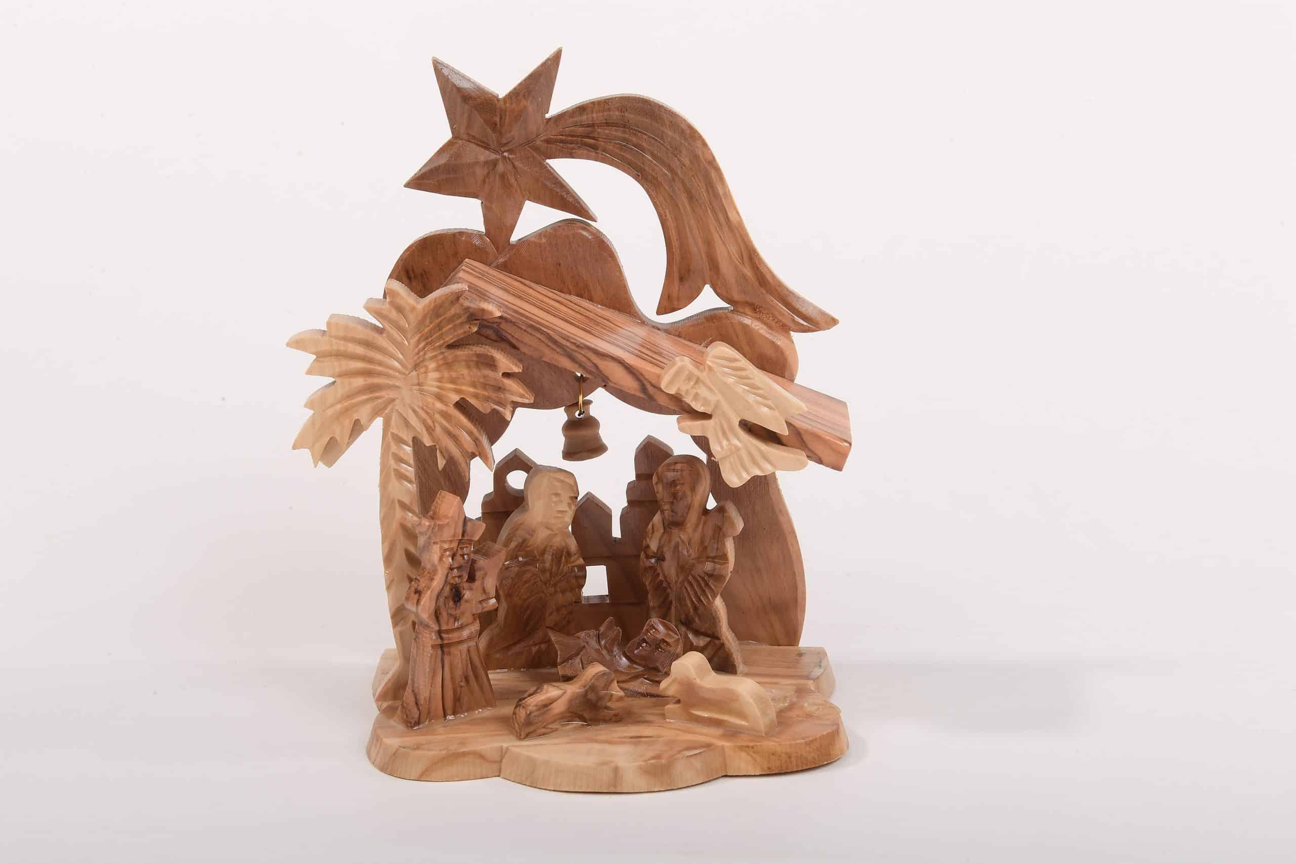 Olive wood Nativity Set with star Betlehem