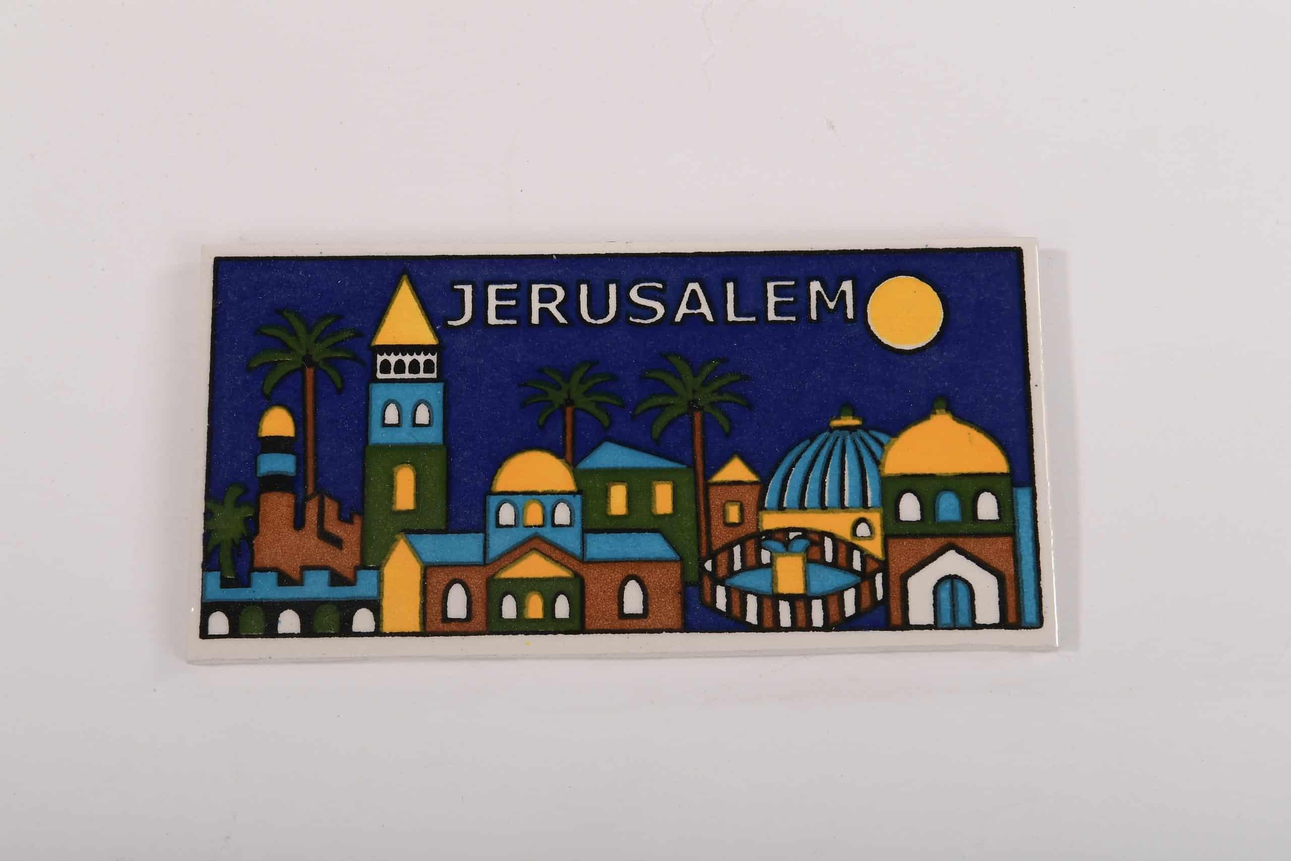 Armenian Ceramic Hanging tile with Jerusalem Panorama Hand Painted