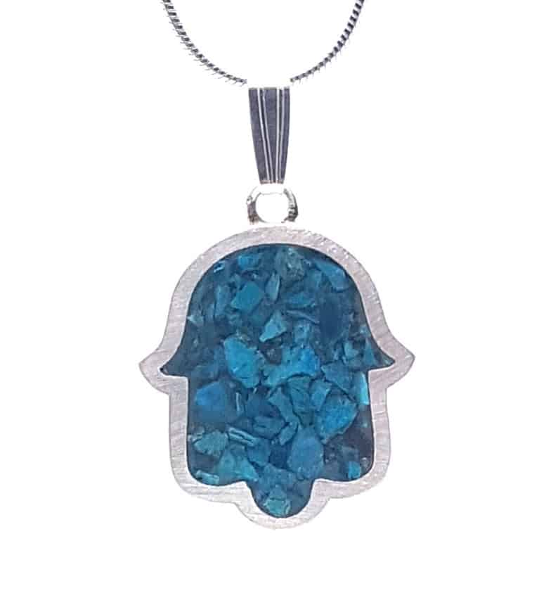 925 Sterling Silver Eilat Stone King Solomon Hamsa Pendant Necklace