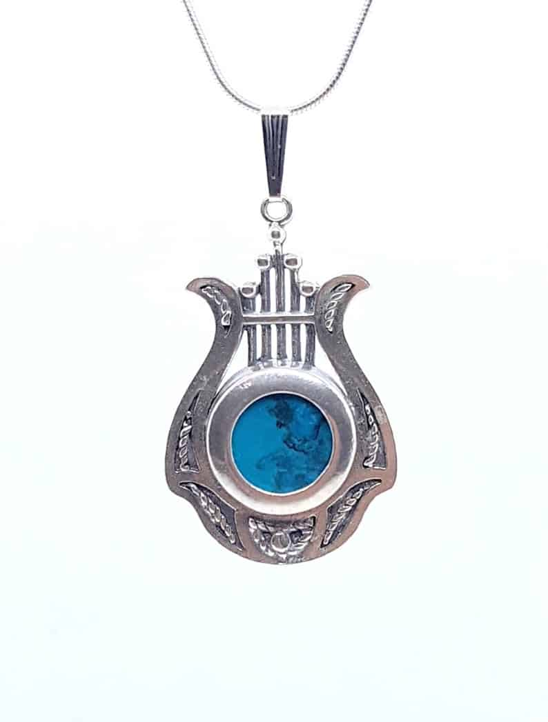 925 Silver Filigree Harp Pendant set with Eilat Stone