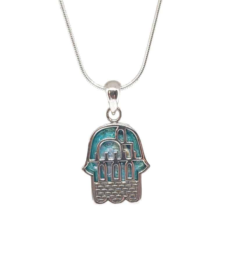 Collar con Colgante de Hamsa de Jerusalén de Cristal Romano de Plata de Ley 925