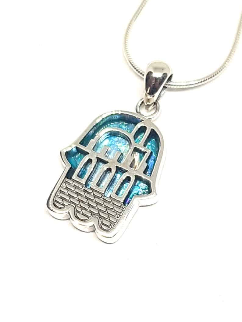 925 Sterling Silver Roman Glass Jerusalem Hamsa Pendant Necklace