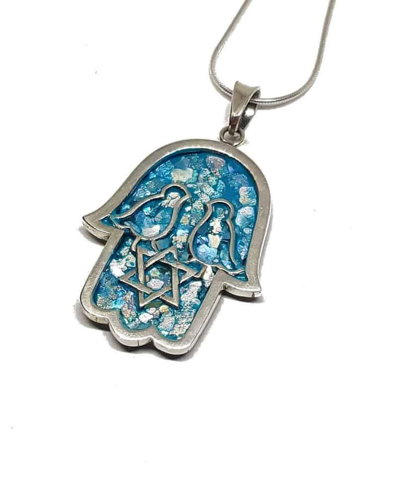 925 Sterling Silver Roman Glass Hamsa Pendant Necklace Star of David Pendant
