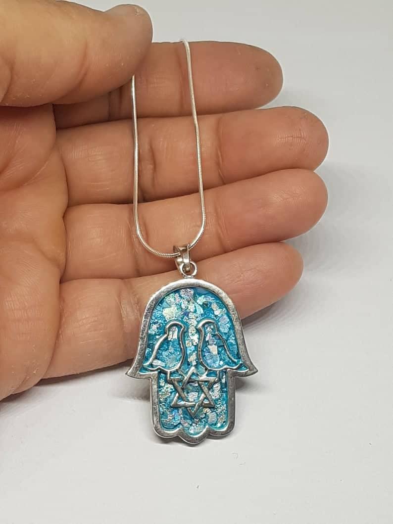Collar con Colgante de Hamsa de Cristal Romano de Plata de Ley 925 Colgante de Estrella de David