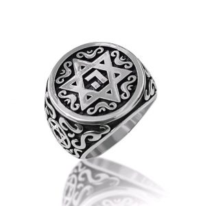 Sterling Silver Ornamented Star of David Ring Men Ring Women Ring