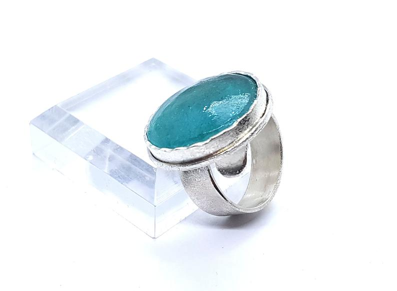 Hand Made One Of A Kind Roman Glass Ring Adjustable 925 Sterling Silver ,Roman Glass Spiral Ring