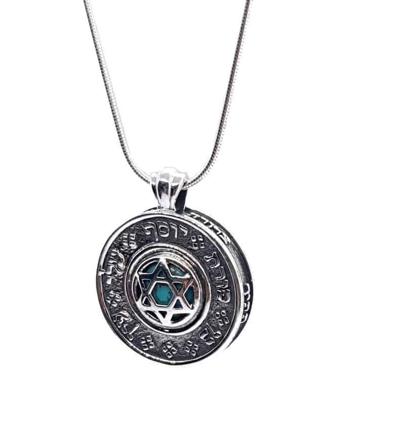 Collar Ana Bekoach, Collar con Colgante de Ónix de Oro de 9 Quilates de Plata Esterlina, Colgante Hebreo, Colgante de Estrella de David, Collar de Kabbalah
