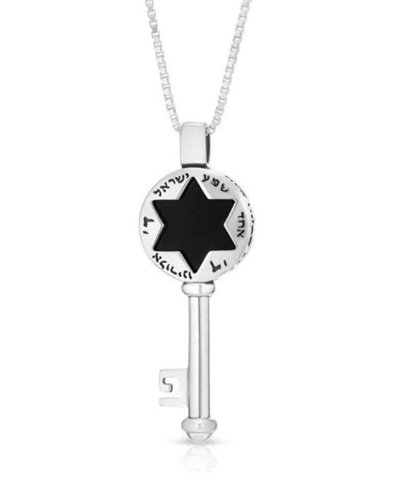 Joyeria Kabbalah de Plata Esterlina 925 Dije de Llave Colgante con Inscripción