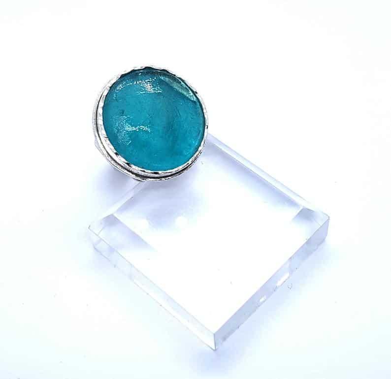 Anillo de Cristal Romano Ajustable Hecho a Mano en Plata de Ley 925, Anillo Espiral de Vidrio Romano