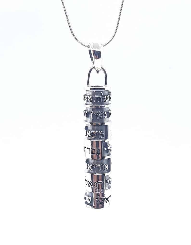 Colgante Kabala de Plata Mezuzá con Los Nombres de los Ángeles, Colgante de Protección, Colgante Judío, Joyería Judía