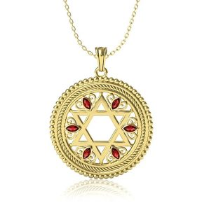 14K Yellow Gold Star of David Pendant Set With Garnets Stones