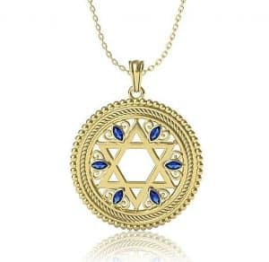 14K Yellow Gold Star of David Pendant Set With Sapphires Stones ,Jewish Pendant